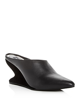 JAGGAR - Women's Leather & Suede Sculpted Wedge Mules