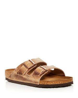 Birkenstock Men's Arizona Distressed Leather Slide Sandals