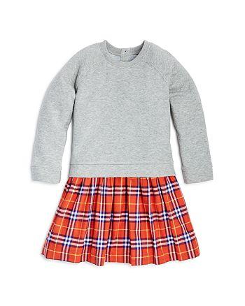 Burberry - Girls' Francine Check Skirt Sweatshirt Dress - Little Kid, Big Kid