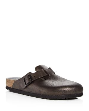 Women'S Boston Washed Leather Mules, Metallic Antique Black Leather