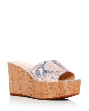 WOMEN'S KESSINA SNAKE-EMBOSSED LEATHER PLATFORM WEDGE SLIDE SANDALS