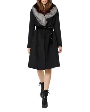 ONE MADISON Fox Fur Trim Grommet Belted Coat in Black