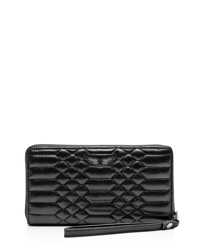 Zadig & Voltaire Compagnon Mat Embossed Leather Wallet  | Bloomingdale's