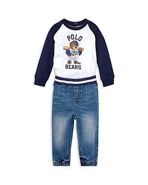 Ralph Lauren Boys Tee  Denim Jogger Pants Set  Baby