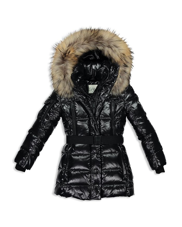 SAM. - Girls' Millennium Fur-Trimmed Belted Down Jacket - Big Kid