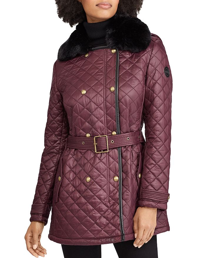 Ralph Lauren - Faux Fur Trim Double-Breasted Front Quilted Jacket