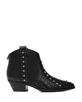 Sam Edelman - Women's Brian Pointed-Toe Studded Leather Mid-Heel Booties
