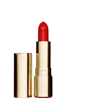 What It Is: Discover Clarins\\\' take on a classic lipstick-Joli Rouge Velvet. What It Does: Created with exclusive Velvet Booster+ Complex, this creamy lightweight texture delivers intense long-wearing, luminous, matte color that softens, comforts and moisturizes lips for 6 full hours* Key Ingredients: - Organic Marsh Samphire extract hydrates and plumps. - Organic Apricot oil nourishes and comforts. Finish: Luminous matte How To Use It: 1. Define lips with your favorite Clarins Lipliner Pencil. 2