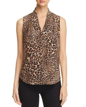 LE GALI AMAL LEOPARD SLEEVELESS BLOUSE - 100% EXCLUSIVE