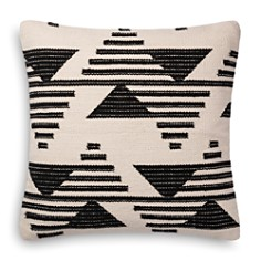 "Loloi - Magnolia Home Black & White Embroidered Decorative Pillow, 22"" x 22"""