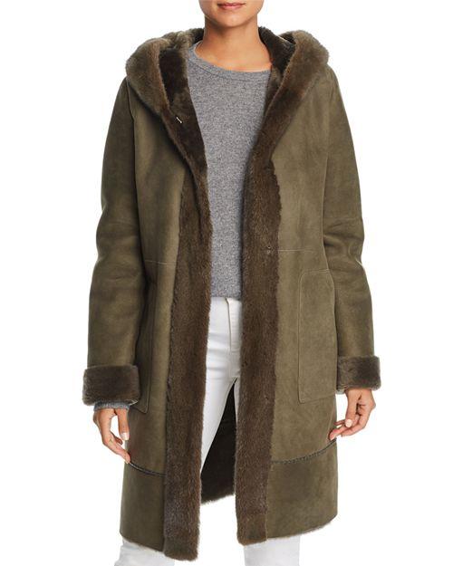 Maximilian Furs - Lamb Shearling Coat with Mink Fur Hood - 100% Exclusive