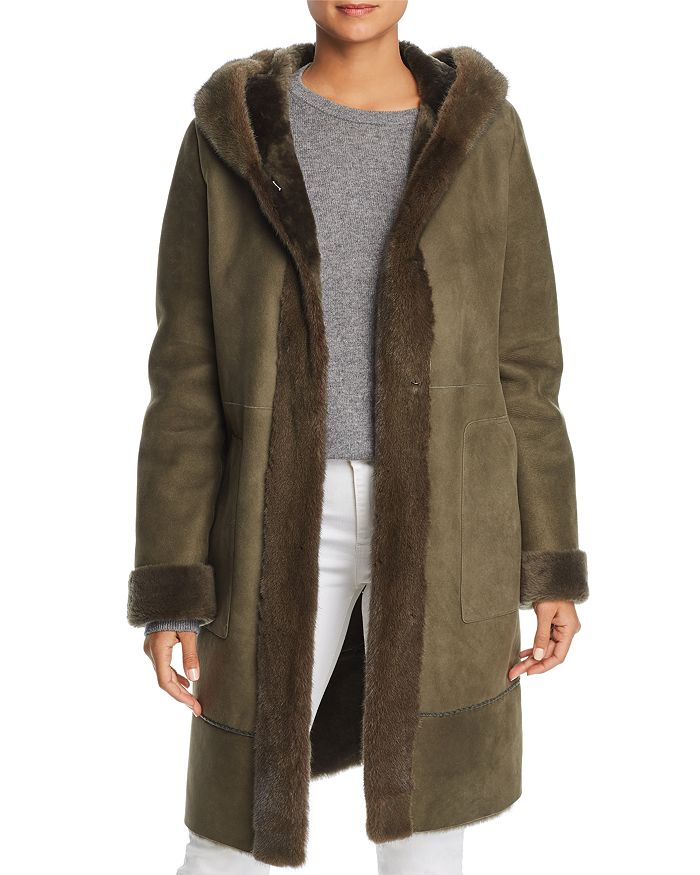 Maximilian Furs - Lamb Shearling Coat with Mink Fur Hood - 100% Exclusive