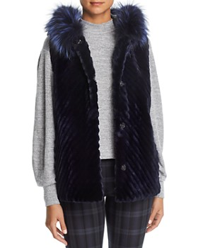 Maximilian Furs - Reversible Sheared Beaver Fur & Leather Vest with Fox Fur Trim - 100% Exclusive