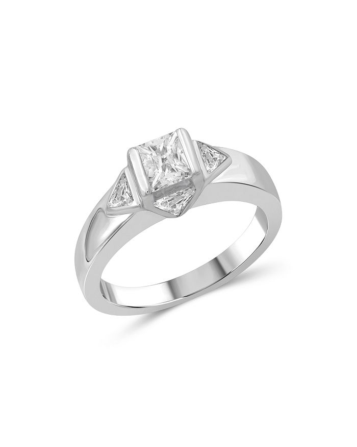 Love and Pride - 14K White Gold Princess & Trillion Diamond Engagement Ring