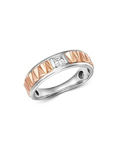 Bloomingdale's - Diamond Men's Band Ring in 14K White Gold & 14K Rose Gold, 0.25 ct. t.w. - 100% Exclusive