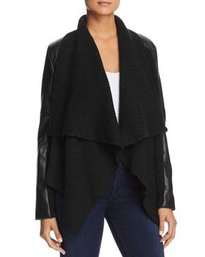 BAGATELLE Knit Drape Faux-Leather Cropped Jacket in Black