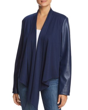 BAGATELLE Drape-Front Faux Leather-Sleeve Jacket in Navy