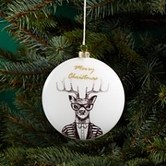 Bloomingdale's - Deer Glass Disc Ornament - 100% Exclusive