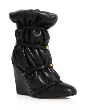 Stuart Weitzman Women's Duvet Round Toe Studded Leather Wedge Boots