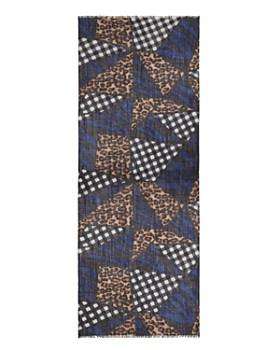 AQUA - Patchwork-Print Wool Scarf - 100% Exclusive