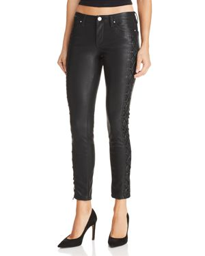 BLANKNYC LACE-UP FAUX LEATHER SKINNY JEANS IN RISQUE