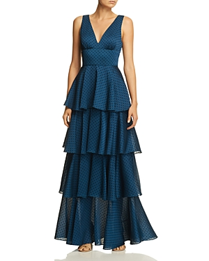 Laundry By Shelli Segal Linings LAUNDRY BY SHELLI SEGAL TIERED RUFFLE GOWN