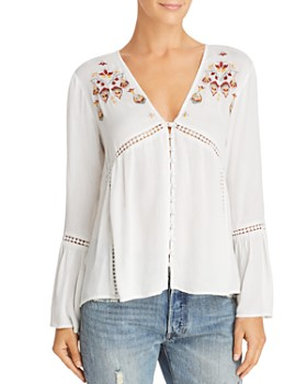 En Créme - Embroidered Bell-Sleeve Top