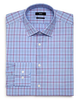 BOSS - Checked-Plaid Regular Fit Dress Shirt