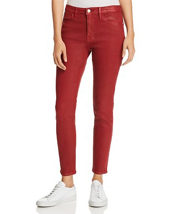 FRAME - Le High Skinny Jeans in Hunter Red Coated