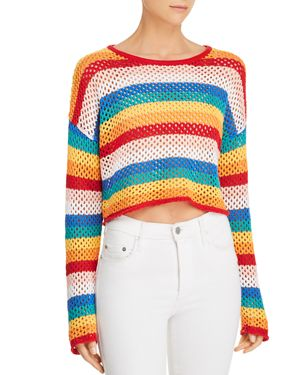 HONEY PUNCH Rainbow-Stripe Cropped Crochet Sweater in Multi