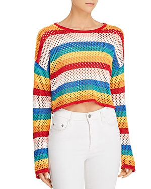 Honey Punch Rainbow-Stripe Cropped Crochet Sweater