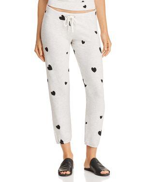Monrow Heart-Print Sweatpants