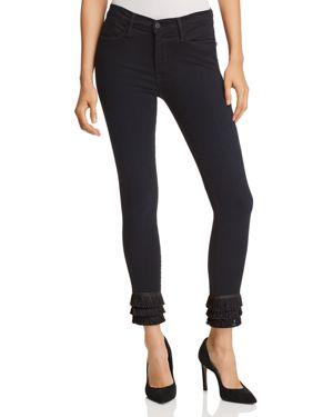 Frame Le High Skinny Triple Fringe-Hem Jeans in Byxbee