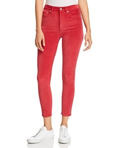 rag & bone/JEAN - High-Rise Velvet Cropped Skinny Jeans in Chili Pepper