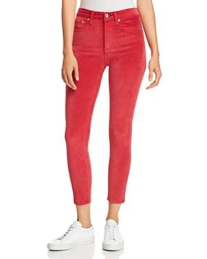 rag & bone/Jean High-Rise Velvet Cropped Skinny Jeans in Chili Pepper
