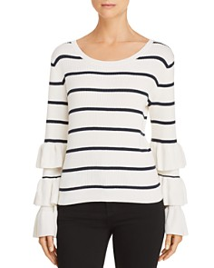 CHASER - Ruffle-Sleeve Striped Sweater