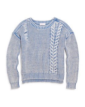 Design History - Girls' Distressed Ribbed Sweater - Big Kid