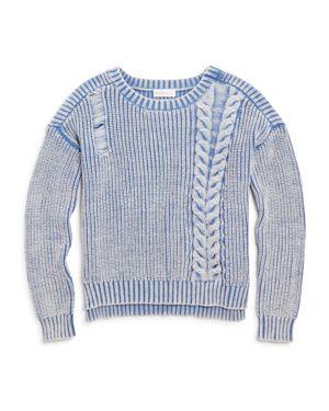 Design History Girls' Distressed Ribbed Sweater - Big Kid