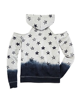 Play Six - Girls' Star-Print Cold-Shoulder French Terry Hoodie - Little Kid