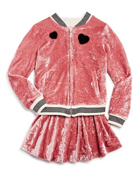 Design History - Girls' Crushed Velvet Bomber Jacket & Skirt - Little Kid