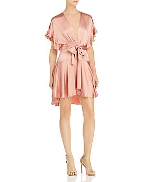 Saylor Plunging Satin Mini Dress