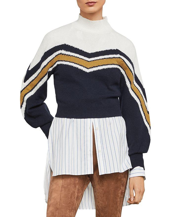 BCBGMAXAZRIA - Varsity Striped Cropped Sweater- 100% Exclusive