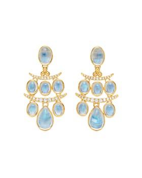 Temple St. Clair - 18K Yellow Gold Seta Small Moon Blue Moonstone & Diamond Drop Earrings