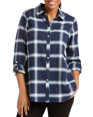 FOXCROFT ZELLA WINDOWPANE BUTTON-DOWN SHIRT
