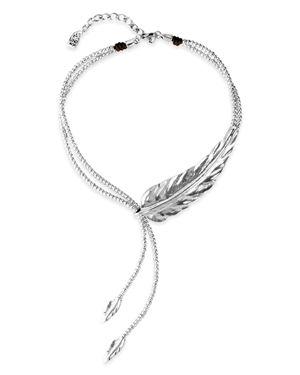 UNO DE 50 Uno De 50 Double Strand Feather Necklace, 14 in Silver