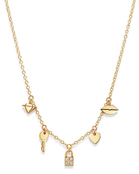Zoë Chicco - 14K Yellow Gold Itty Bitty Dangling Charms Pavé Diamond Adjustable Necklace, 18""