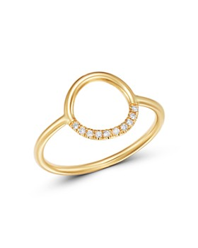 Zoë Chicco - 14K Yellow Gold Small Thick Circle Pavé Diamond Ring
