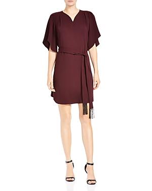 Halston Heritage Belted Flutter-Sleeve Crepe Dress