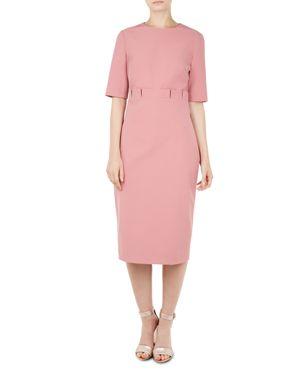 Maggidd Ruffle Waist Pencil Dress, Coral