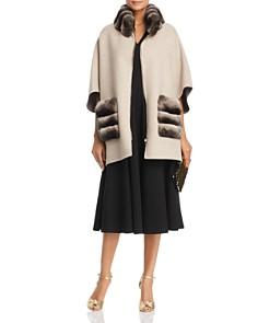 Maximilian Furs - Chinchilla Fur Trim Cape - 100% Exclusive